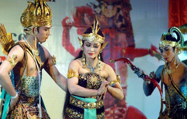 Jakarta's National Wayang Secretariat Sena Wangi stage artiste perform the 'Epic of Ramayana' in Chennai,...