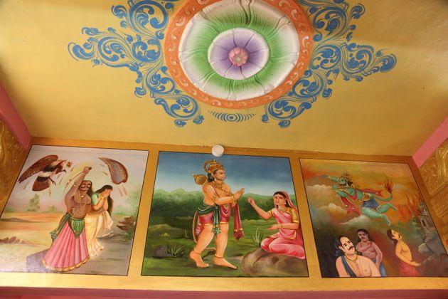 Paintings depicting scenes Hindu epic Ramayana at the Sita Amman Temple (Seeta Amman Temple) in Nuwara...