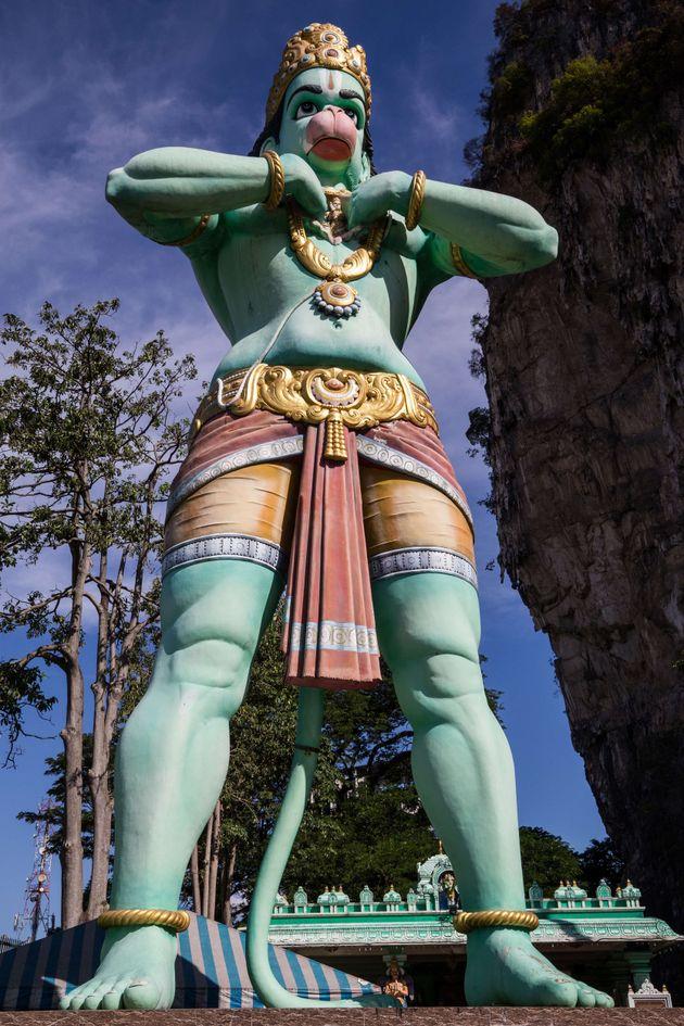 KUALA LUMPUR, MALAYSIA — Hanuman at Batu Caves Temple - dedicated to Lord Muruga with ornate