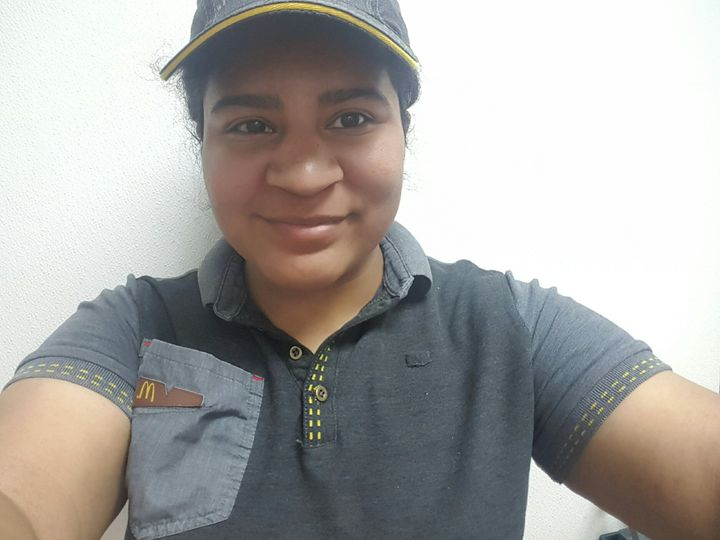 The author in her McDonald's uniform.