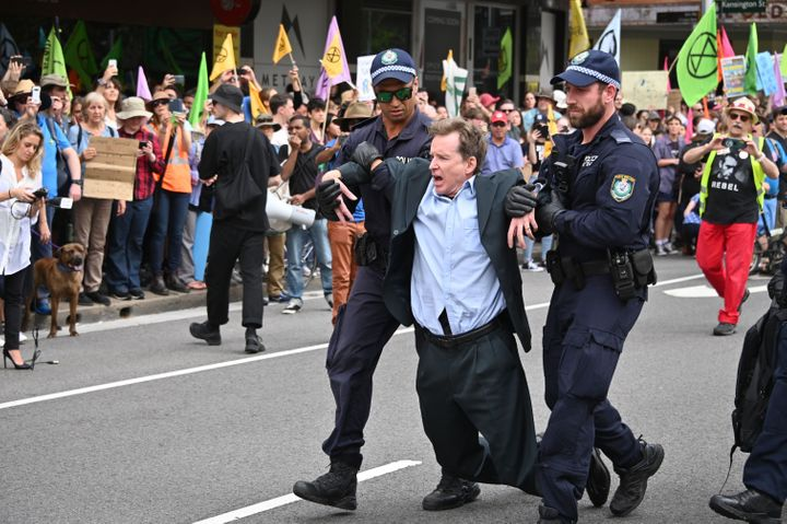 Arrests take place at Monday's Sydney protests.