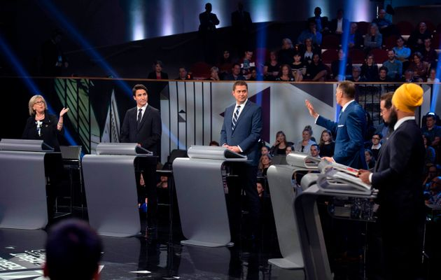 All six leaders at the federal leaders' debate at the Canadian Museum of History in Gatineau, Que. on...