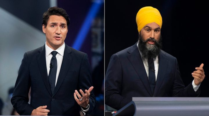 Liberal Leader Justin Trudeau and NDP Leader Jagmeet Singh participate in the English-language federal leaders' debate at the Canadians museum of history on Oct. 7, 2019.