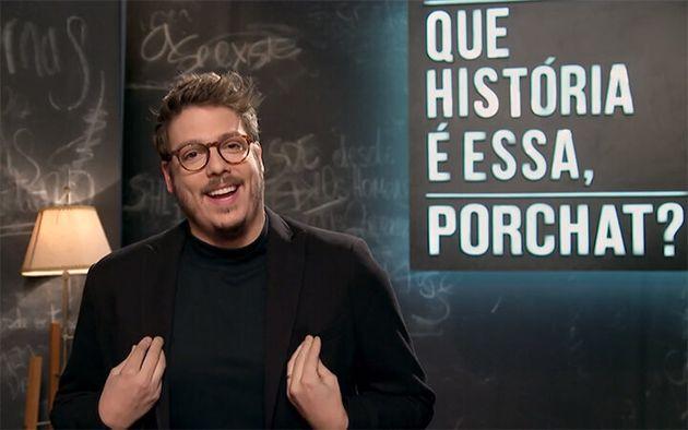 Fábio Porchat no comando de seu talk show no
