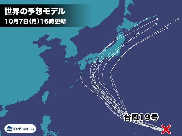 世界各気象予測モデルの台風進路シミュレーション