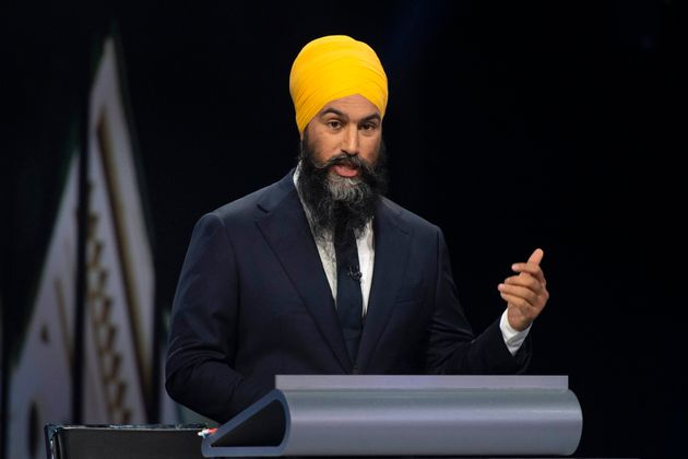 NDP Leader Jagmeet Singh speaks during the federal leaders' debate in Gatineau, Que. on Oct. 7,