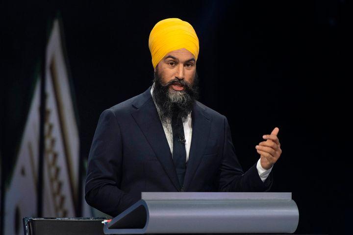 NDP Leader Jagmeet Singh speaks during the federal leaders' debate in Gatineau, Que. on Oct. 7, 2019.