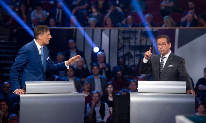 People's Party of Canada leader Maxime Bernier and Bloc Quebecois leader Yves-Francois Blanchet speak during the leaders' debate in Gatineau, Que. on Oct. 7, 2019.