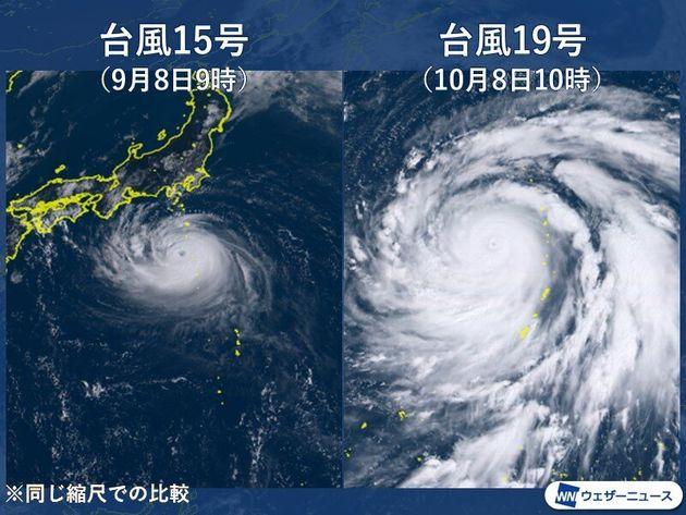 台風15号と19号の比較