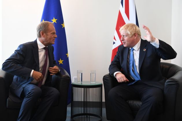 Prime Minister Boris Johnson meets European Council President Donald Tusk at the United Nations Headquarters...