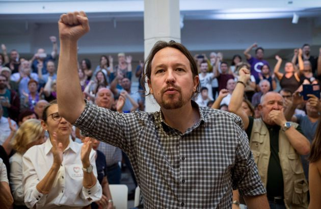 El líder de Podemos, Pablo Iglesias, durante un acto de