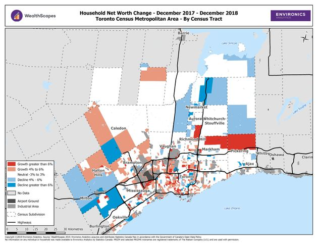 In Toronto, areas where net worth fell in 2018 (blue) are concentrated in outlying neighbourhoods, while...