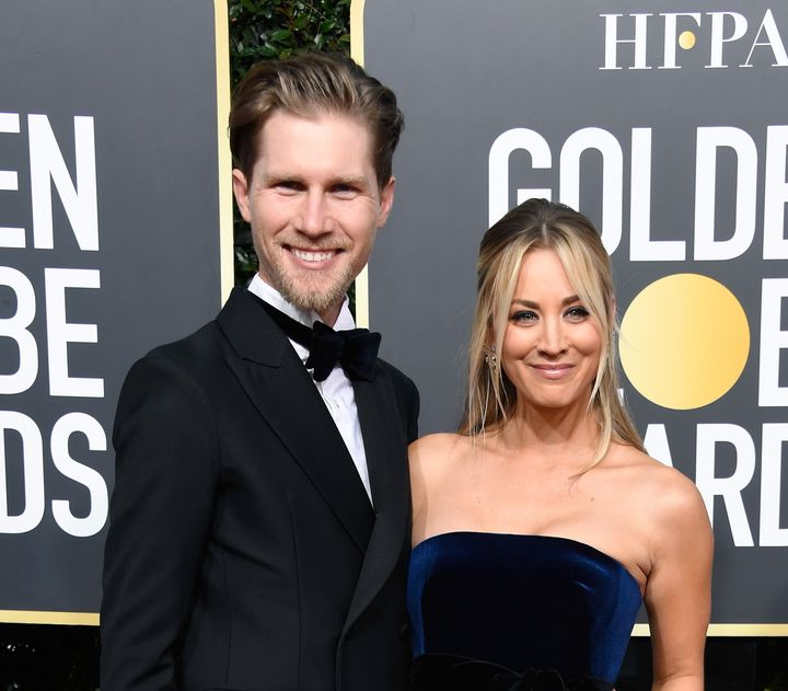 Karl Cook and Kaley Cuoco attend the 76th annual Golden Globe Awards on Jan. 6 in Beverly Hills.