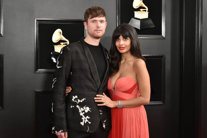 James Blake and Jameela Jamil at the 61st Annual Grammy Awards in February.