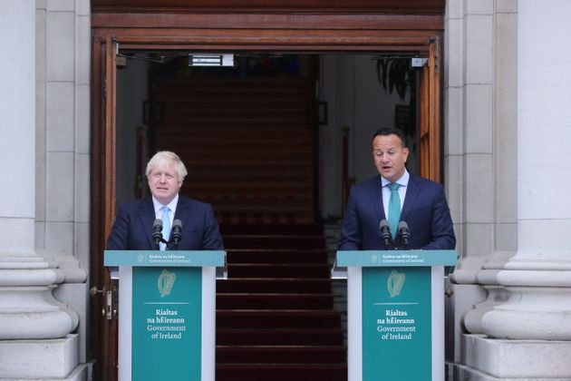 Prime Minister Boris Johnson during his meeting Taoiseach Leo Varadkar in Government Buildings during...