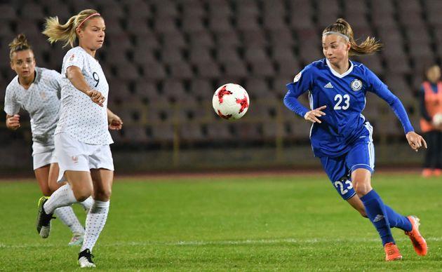 L'équipe de France féminine de football s'est imposée 3-0 au Kazakhstanpour...