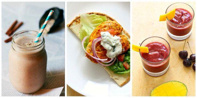 Everyday Eats: Vegan Oatmeal Cookie Protein Smoothie, Tandoori Chicken Burgers With Cucumber Raita, Mango Cherry Vodka Slushie
