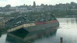 Barge Tips Vehicles Into Victoria