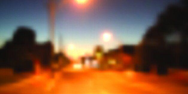 Street at night with lighting. Image