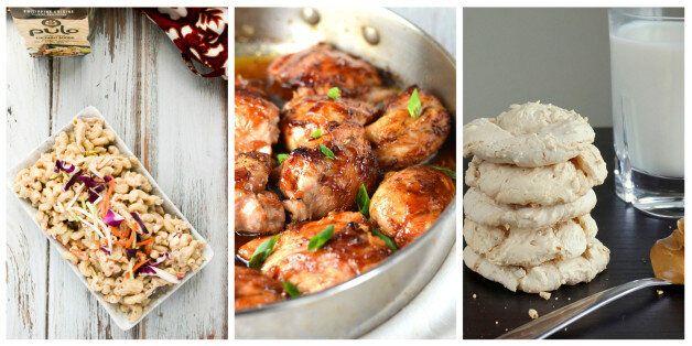 Coconut Adobo Macaroni Salad, Pan Roasted Maple Soy Glazed Chicken, Peanut Butter Meringue