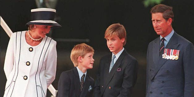 Princess Diana(L), her sons Harry(2nd L) and William(2nd R), and Prince Charles(R) watch the parade march...