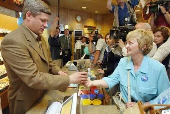 Harper's Tim Hortons Photo-Op Mocked After He Asks To Not 'Handle The
