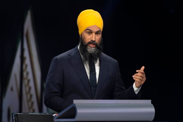 NDP Leader Jagmeet Singh speaks during the Federal leaders debate in Gatineau, Quebec on Monday, Oct....