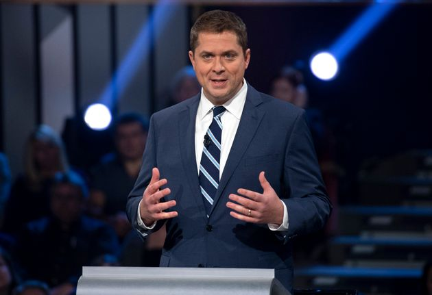 Conservative Leader Andrew Scheer speaks during the Federal Leaders Debate at the Canadian Museum of...