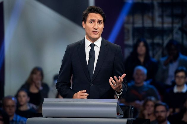 Liberal Leader Justin Trudeau responds to a question during the Federal leaders debate in Gatineau, Quebec...