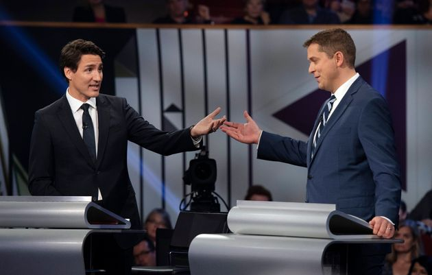 Andrew Scheer and Justin Trudeau during the federal leaders' debate in Gatineau, Que. on Oct. 7,