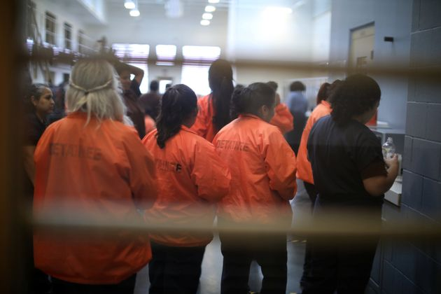 Detainees are seen at Otay Mesa immigration detention center in San Diego, California, on May 18,
