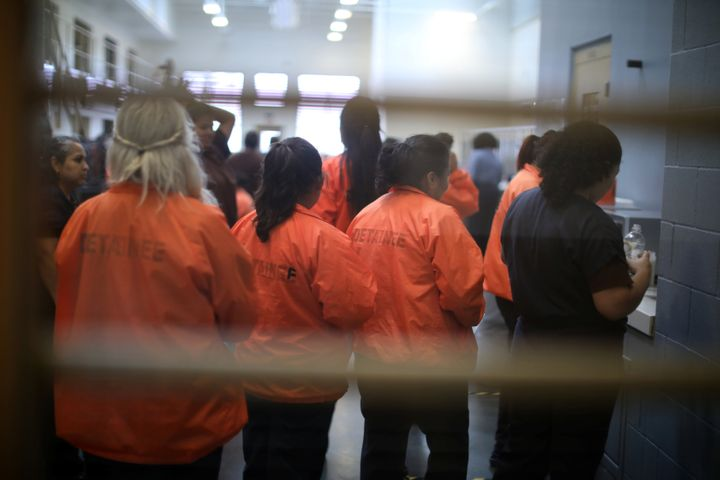 Detainees are seen at Otay Mesa immigration detention center in San Diego, California, on May 18, 2018.