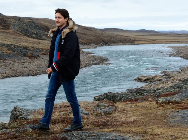Liberal Leader Justin Trudeau arrives for a campaign event in Iqaluit, Nunavut on Tuesday Oct. 8,