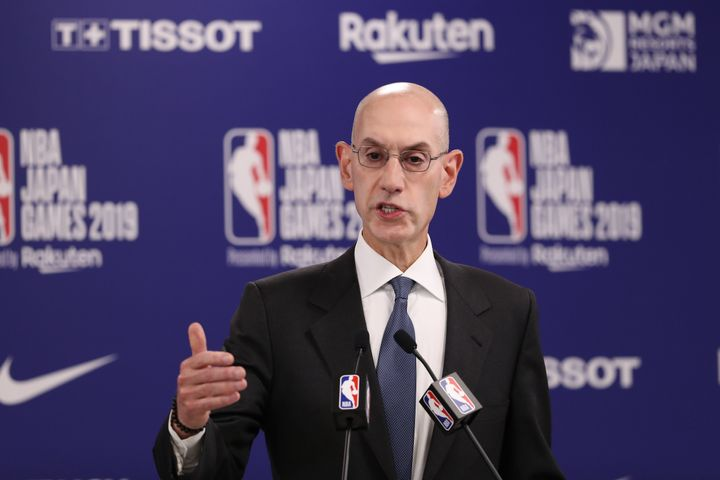 SAITAMA, JAPAN - OCTOBER 08: Commissioner of the National Basketball Association (NBA) Adam Silver speaks during a press conf