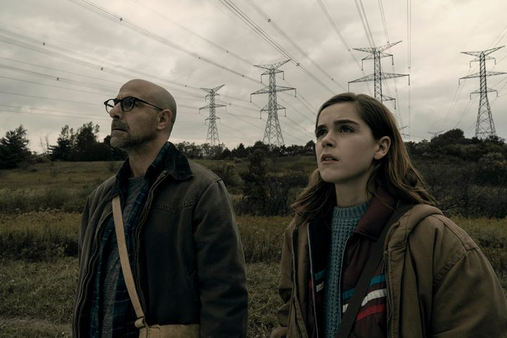 "Stanley Tucci and Kiernan Shipka in ""The Silence."""