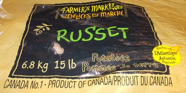 The label from Farmer's Market russet potatoes, in a picture issued by the Canadian Food Inspection