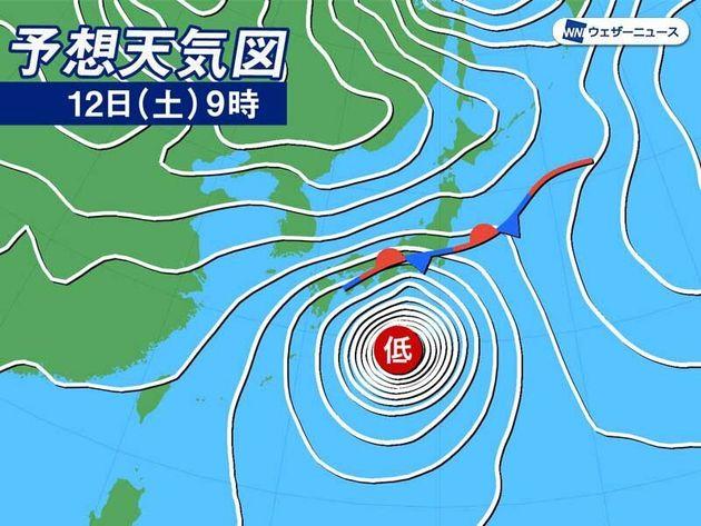 12日(土)9時の予想天気図