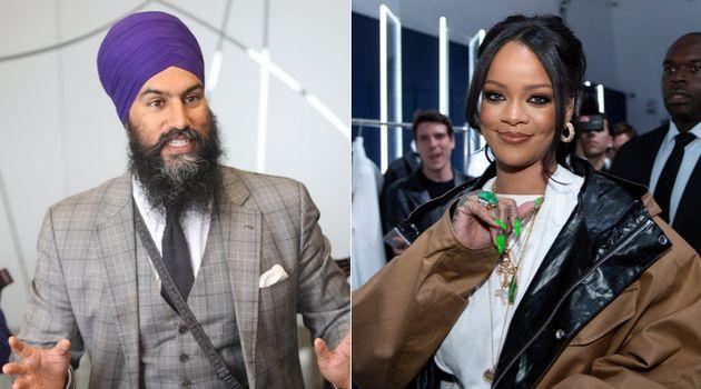 NDP Leader Jagmeet Singh, left, now counts singer Rihanna as an Instagram