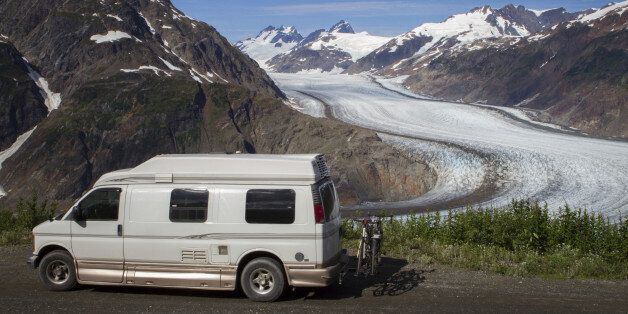 A tourist stops at the Salmon Glacier in Stewart, B.C. near Hyder,