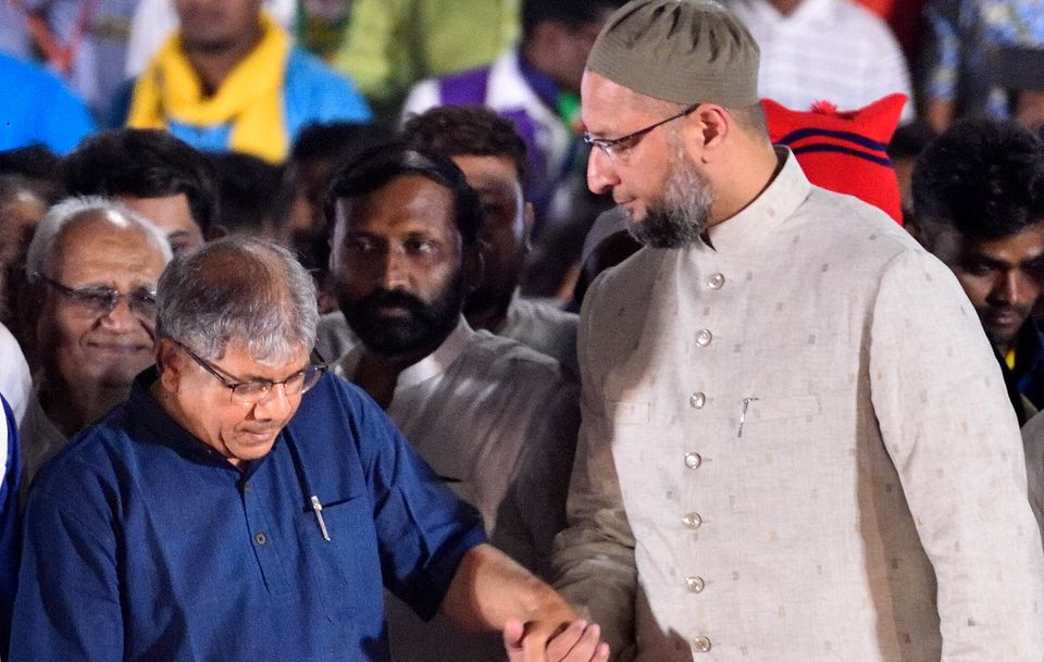 Prakash Ambedkar with Asaduddin Owaisi-led All India Majlis-e-Ittehad-ul-Muslimeen during Lok Sabha election