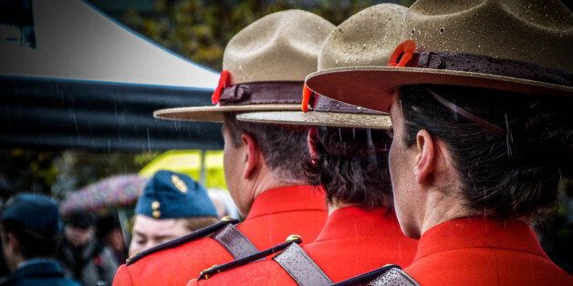 Members of the RCMP Ladysmith Detachment wearing their Red Serge dress
