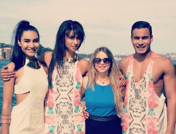 Phoebe Thompson (second from left) and Maurice Salib (far right) in a photo shared to Instagram in