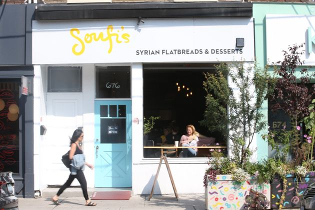 The exterior of Soufi, a Syrian restaurant in Toronto, is seen here on Queen Street West in September