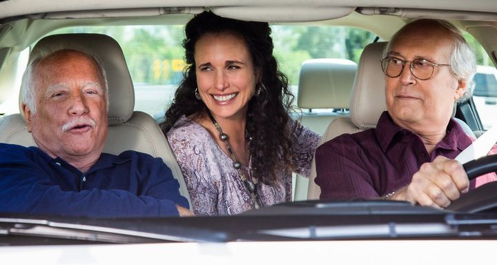 "Richard Dreyfuss, Andie MacDowell and Chevy Chase in ""The Last Laugh"""
