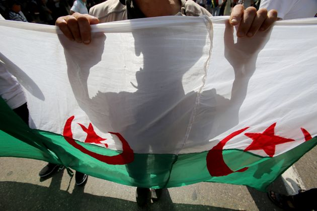A demonstrator carries a national flag during a protest opposing the election that Algeria's veteran...