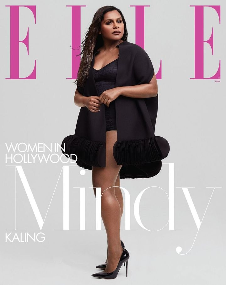 Mindy Kaling on the cover of the November issue of Elle magazine.