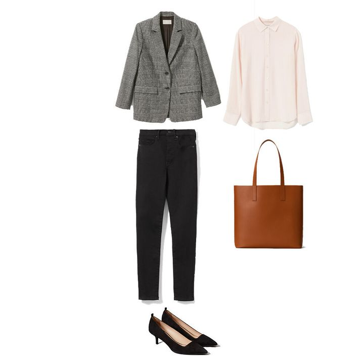 """Women's <a href=""""https://www.everlane.com/products/womens-wool-oversized-blazer-glenplaid?collection=womens-outerwear"""" target=""""_blank"""" rel=""""noopener noreferrer"""">blazer</a>, <a href=""""https://www.everlane.com/products/womens-clean-slk-rlxd-shirt-palepink?collection=womens-tops"""" target=""""_blank"""" rel=""""noopener noreferrer"""">silk shirt</a>, <a href=""""https://www.everlane.com/products/womens-auth-strch-mr-skny-black?collection=womens-jeans"""" target=""""_blank"""" rel=""""noopener noreferrer"""">jeans</a>, <a href=""""https://www.everlane.com/products/womens-editor-heel-black?collection=womens-heels"""" target=""""_blank"""" rel=""""noopener noreferrer"""">heels</a> and <a href=""""https://www.everlane.com/products/the-day-square-tote-cognac?collection=womens-leather-bags"""" target=""""_blank"""" rel=""""noopener noreferrer"""">bag</a>, all by Everlane."""