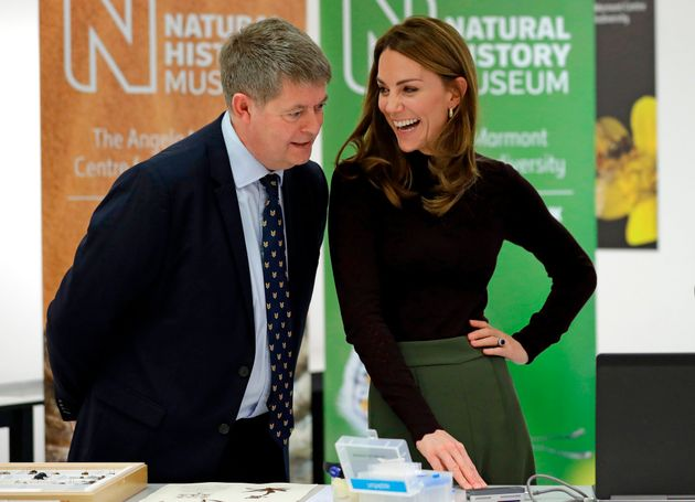 The duchess speaks with Michael Dixon, director of the Natural History Museum,  during her