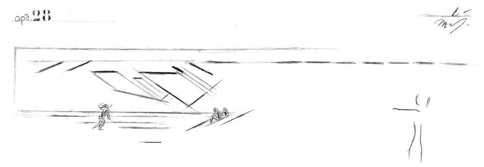Ιωάννης Δεσποτόπουλος, ζωγραφικό στιγμιότυπο διαφορετικών χρήσεων του χώρου του αμφιθέατρου καθιστικού...