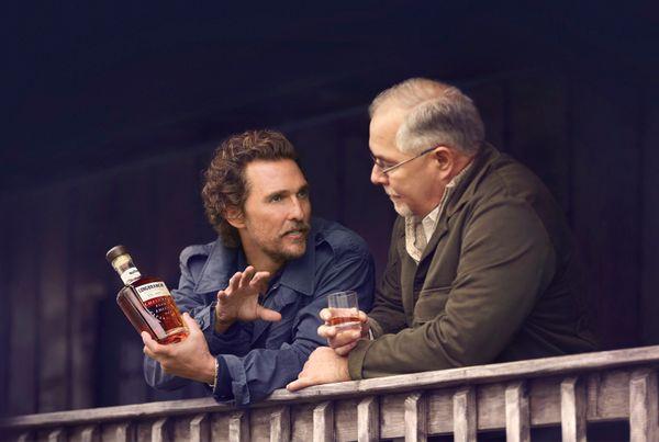 "This photo shows Matthew McConaughey talking to&nbsp;<a href=""https://wildturkeybourbon.com/product/wild-turkey-longbranch/"""